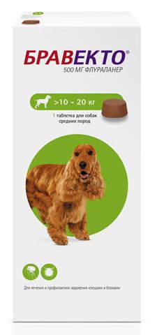 Бравекто для собак весом 10-20 кг от блох и клещей таблетки 0.025 кг