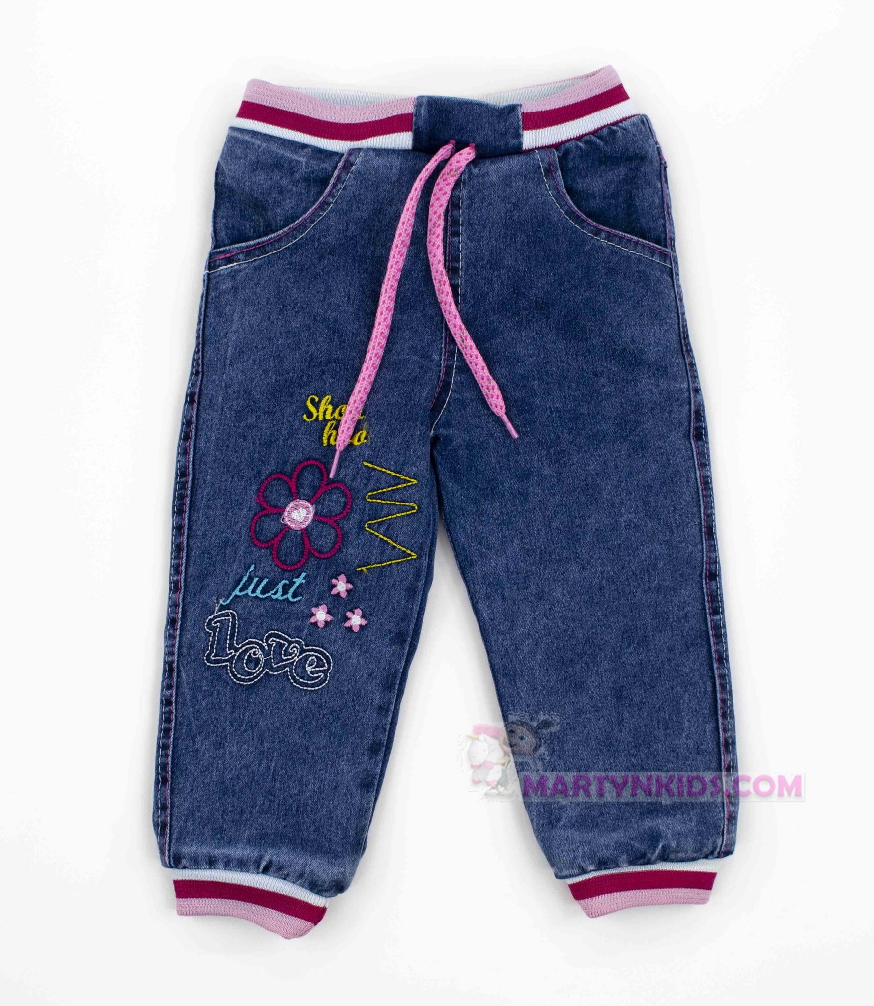 3896  джинсы теплые ЦВЕТОЧЕК