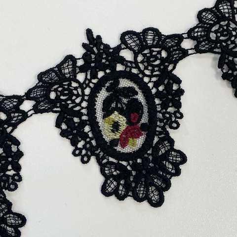 Кружево Triangle TULLE ILLUSION Noir цветной цветок