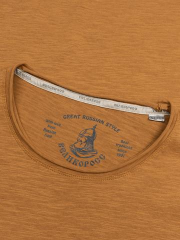 Мужская футболка «Великоросс» коричневого цвета круглый ворот