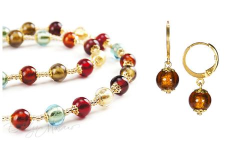 Комплект Carnevale Oro (янтарно-бронзовые серьги Piccolo, ожерелье)