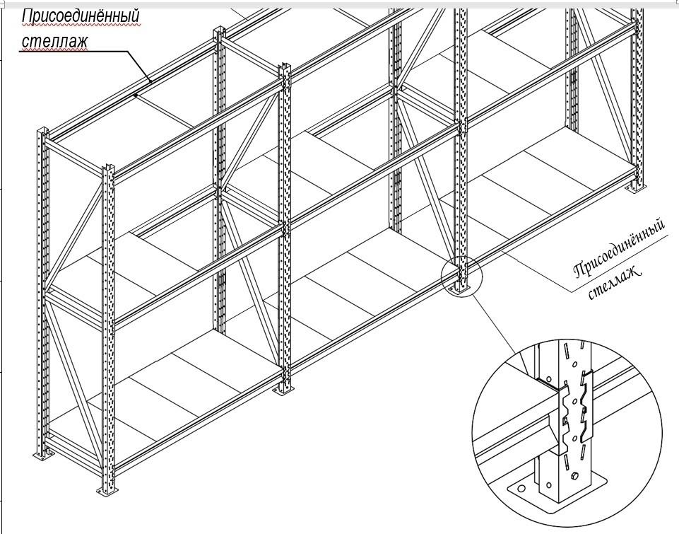 Секция продления стеллажа (глубина 400, высота 2500 мм)