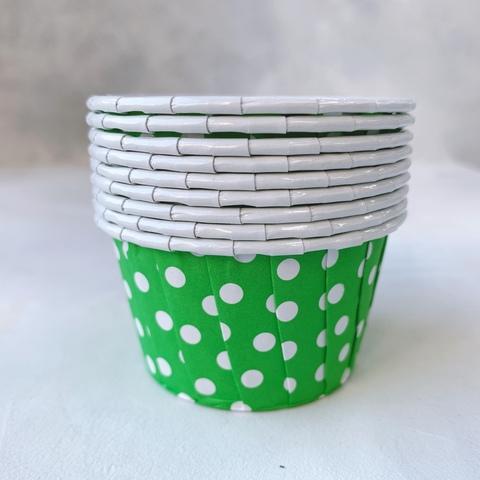 Форма бумажная капсула Маффин Зеленый/белый горох 100шт 50х40 мм