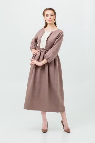 Платье льняное с кружевом Русская песня