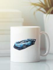 Кружка с автомобилем Bugatti Vision Gran Turismo (Бугатти) белая 009