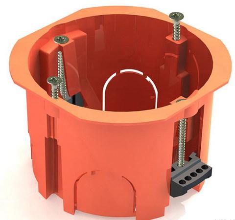 Установочная коробка СП D65х45мм, саморезы, пл. лапки, оранжевая, IP20, TDM
