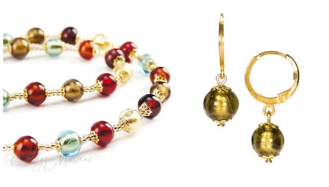 Комплект Carnevale Oro (бронзовые серьги Piccolo, ожерелье)