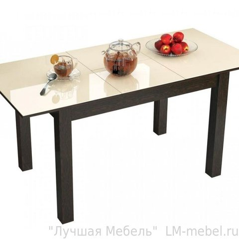 Стол обеденный раскладной Бруно 1000х600 ЛДСП, МДФ ТЭКС венге, лакобель ваниль
