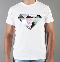 Футболка с принтом Бриллиант (с бриллиантами, с камнями, diamonds) белая 006