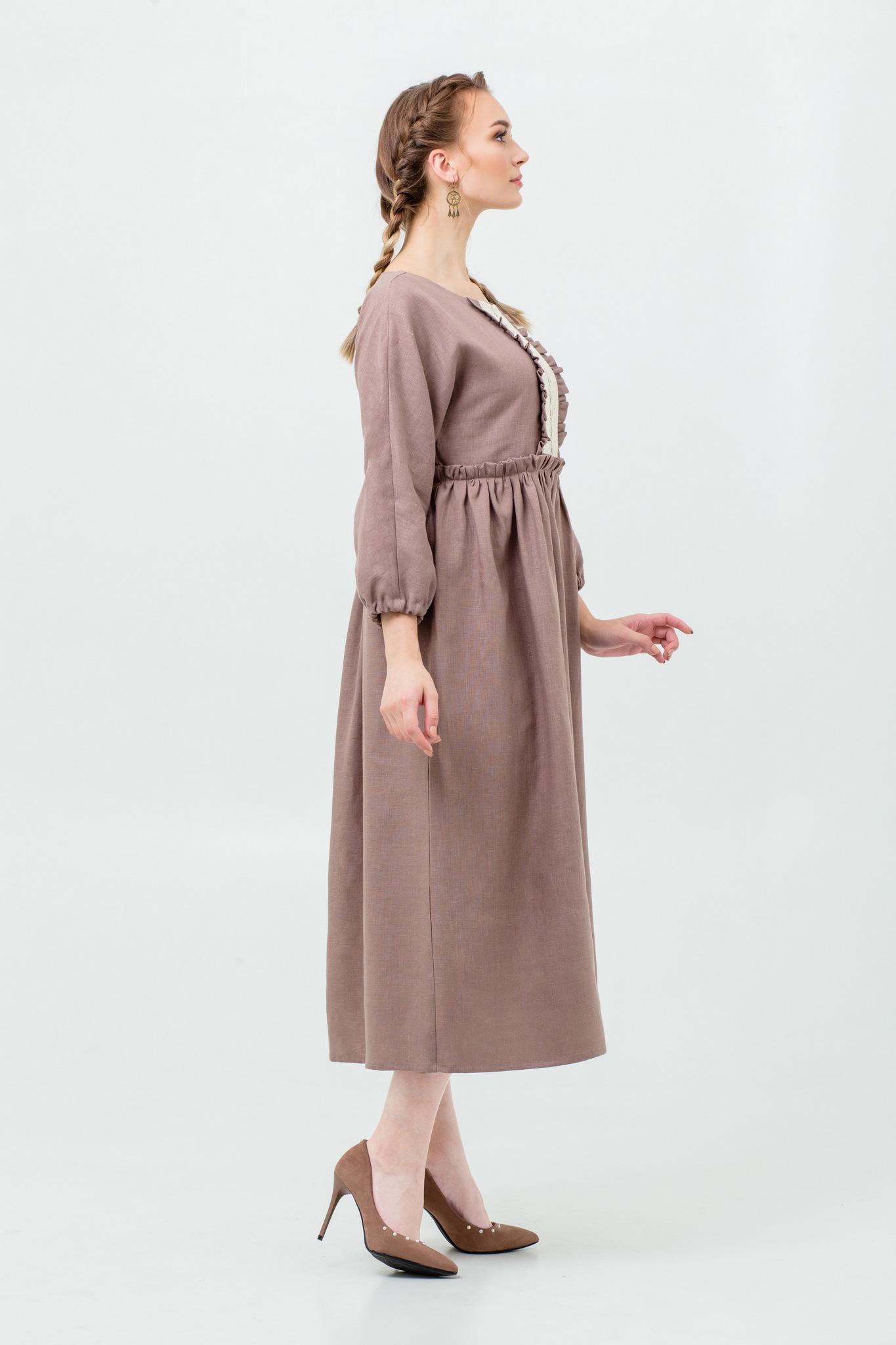 Платье льняное с кружевом Русская песня народное