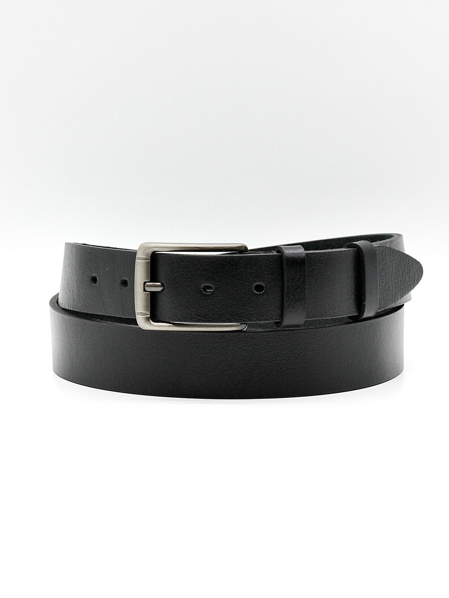 Мужской чёрный брючный ремень из натуральной кожи Doublecity RC34-07-01