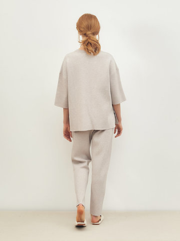 Женские брюки светло-кофейного цвета из вискозы - фото 3