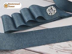 Лента текстильная с люрексом морская волна 38 мм