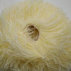 Премиум Тесьма  из перьев страуса на нитке в 2 слоя h 10-15 см., Насыщенный айвори,метраж
