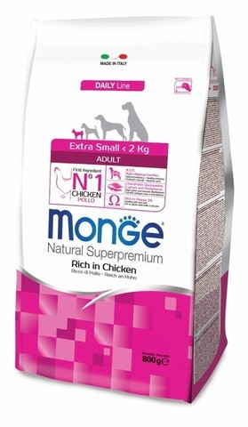 Купить сухой корм Monge Dog Extra Small Adult корм для взрослых собак миниатюрных пород с курицей