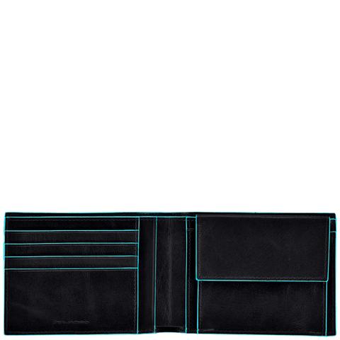 Портмоне Piquadro Blue Square, черное, 12,5х9х2 см