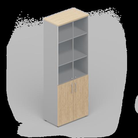 Шкаф комбинированный с матовыми стеклянными дверьми в раме