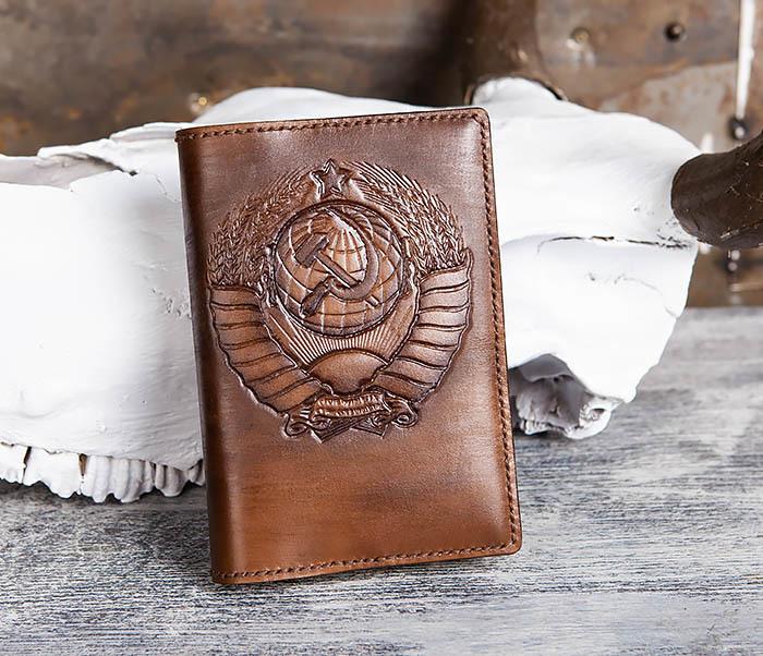 BC199 Кожаный ежедневник ручной работы с гербом СССР (A6)