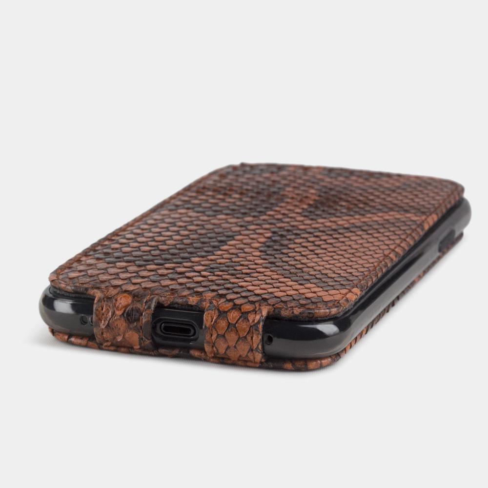 Чехол для iPhone XR из натуральной кожи питона, цвета коньяк