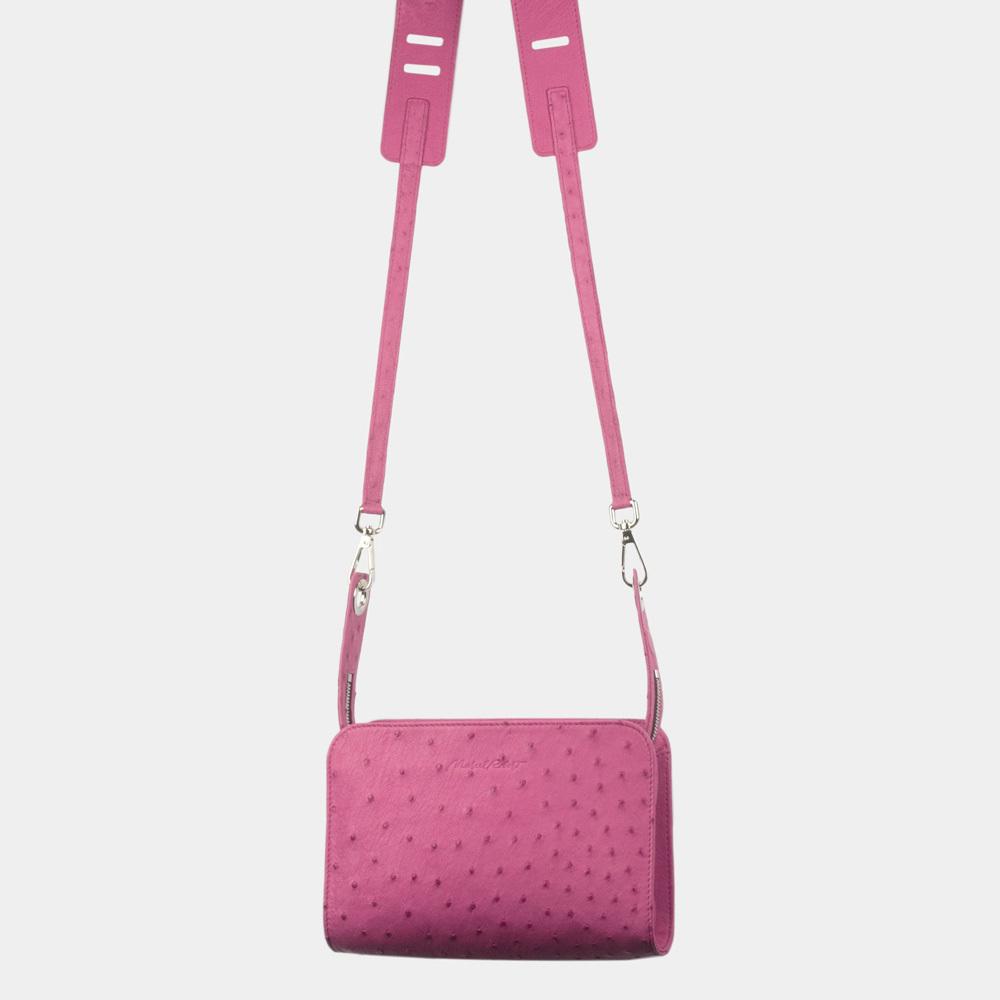 Женская сумка Elodie Bisness из натуральной кожи страуса, цвета фуксии