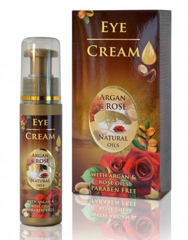 Подтягивающий крем для контура глаз с аргановым маслом и натуральным болгарским розовым маслом