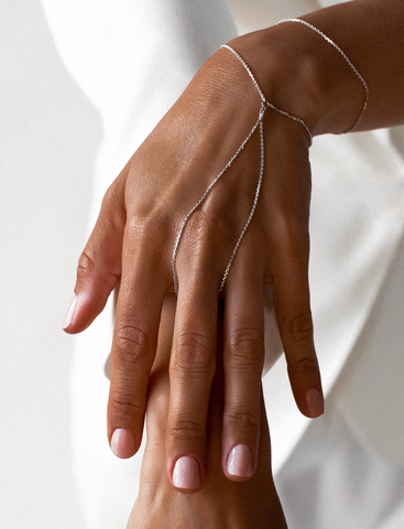 Серебряный браслет слейв на цепочке на руку