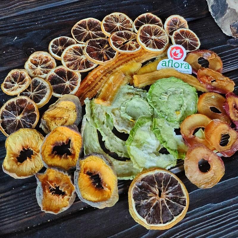 Фотография Чипсы микс /банан, персик, дыня, лимон, слива/ 300 г купить в магазине Афлора