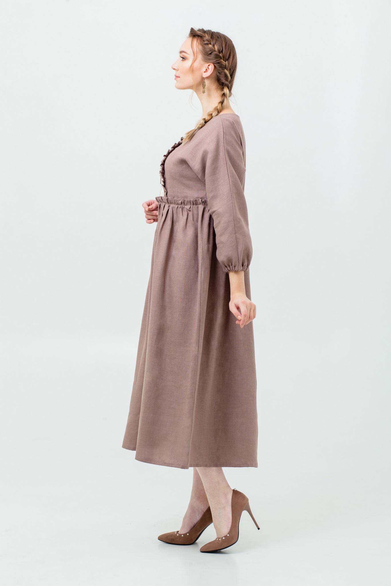 Платье льняное с кружевом Русская песня в стиле бохо