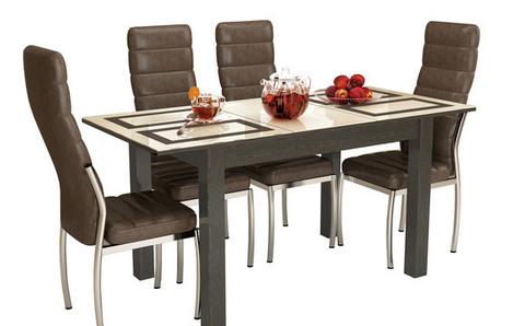 Стол обеденный раскладной Бруно 1000х600 ЛДСП, МДФ ТЭКС венге, рисунок плитка