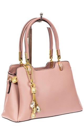 Женская сумка-трапеция из искусственной кожи с подвеской, цвет розовый