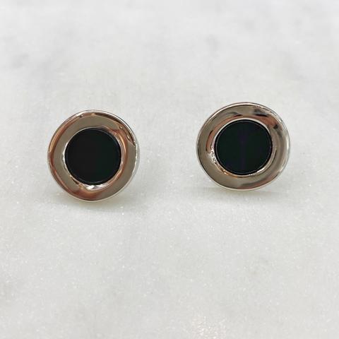 Серьги-кластеры круглые с черной серединой (золотистый)