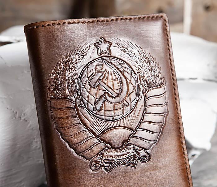 BC199 Кожаный ежедневник ручной работы с гербом СССР (A6) фото 02
