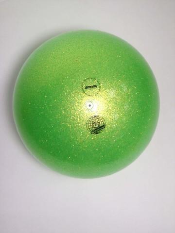 Мяч AMAYA 18,5 см Глиттер зеленый радужный для художественной гимнастики