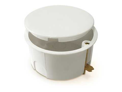 Установочная коробка СП D73х45мм, крышка, метал. лапки, IP20, TDM