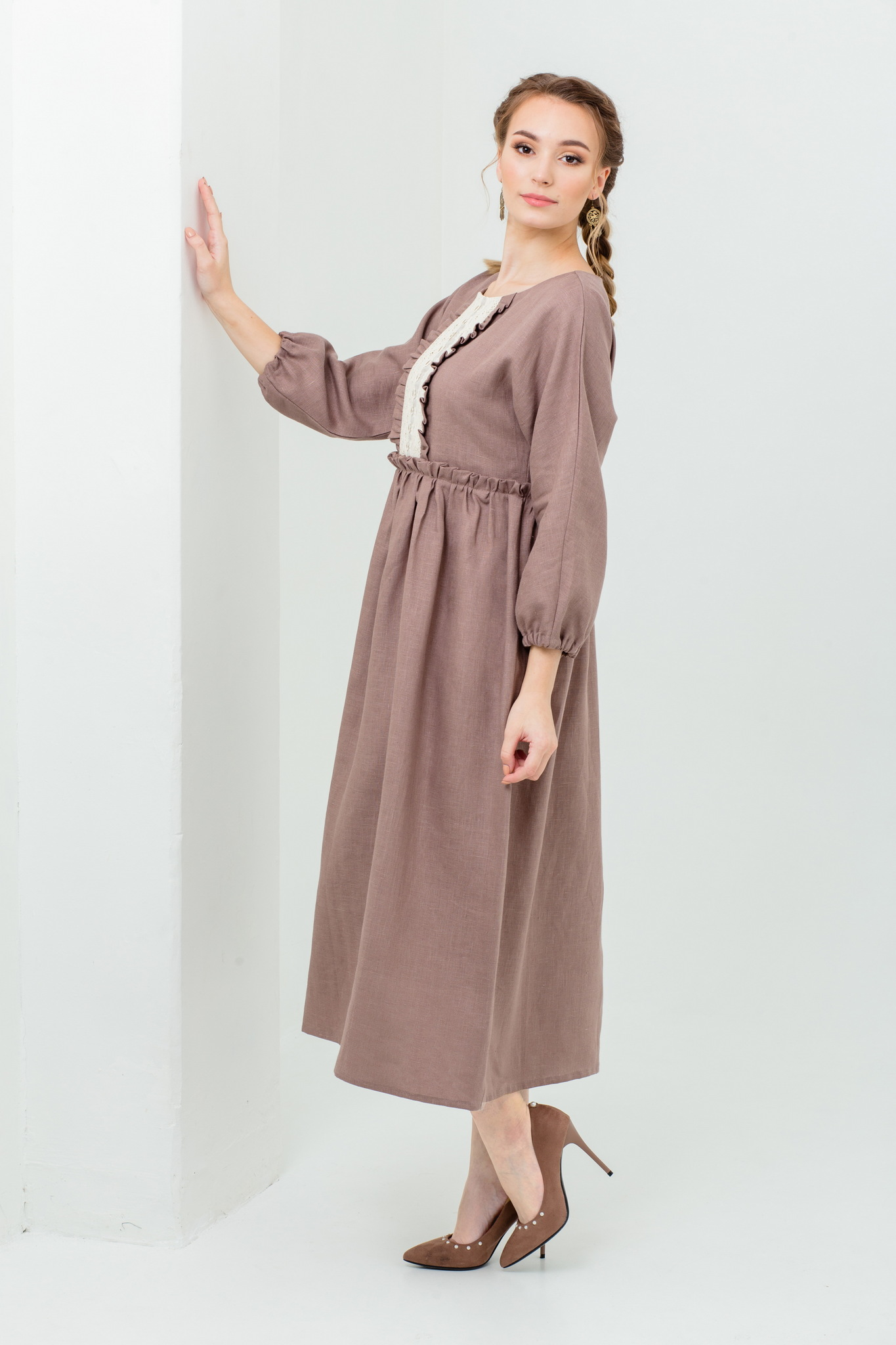 Платье льняное с кружевом Русская песня нарядное