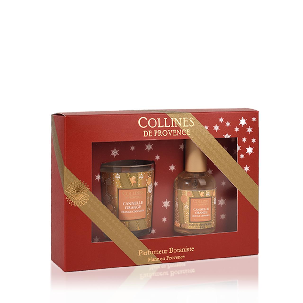 Набор Collines новогодний спрей 50мл + свеча 75гр Cinnamon Orange (Корица с апельсином)