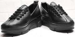 Черные кроссовки туфли кожаные женские Mario Muzi 1350-20 Black.