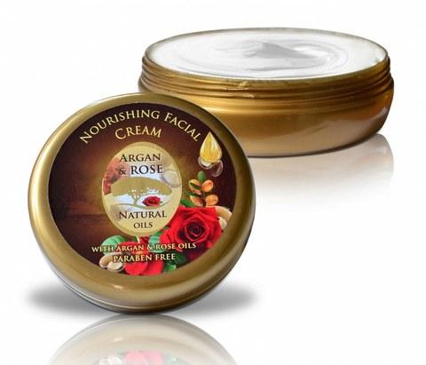 Питательный крем  для всех типов кожи с аргановым маслом и натуральной розовой водой, 150 мл.