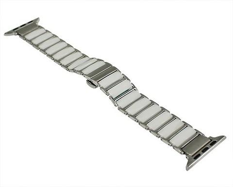 Ремешок для Apple Watch 42mm/44mm керамика сталь | белый с серебром