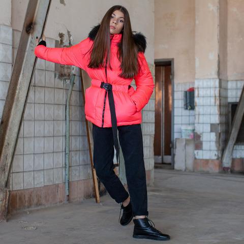 Підліткова зимова куртка рожевого кольору на дівчинку