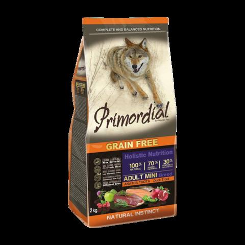 Primordial Сухой корм для собак мелких пород с форелью и уткой (беззерновой)
