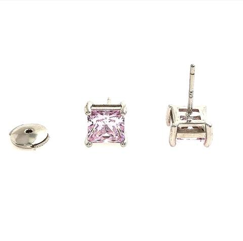 93028 - Серьги-пусеты из серебра с розовыми цирконами огранки Ашер