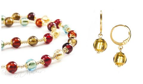 Комплект Carnevale Oro (золотистые серьги Piccolo, ожерелье)