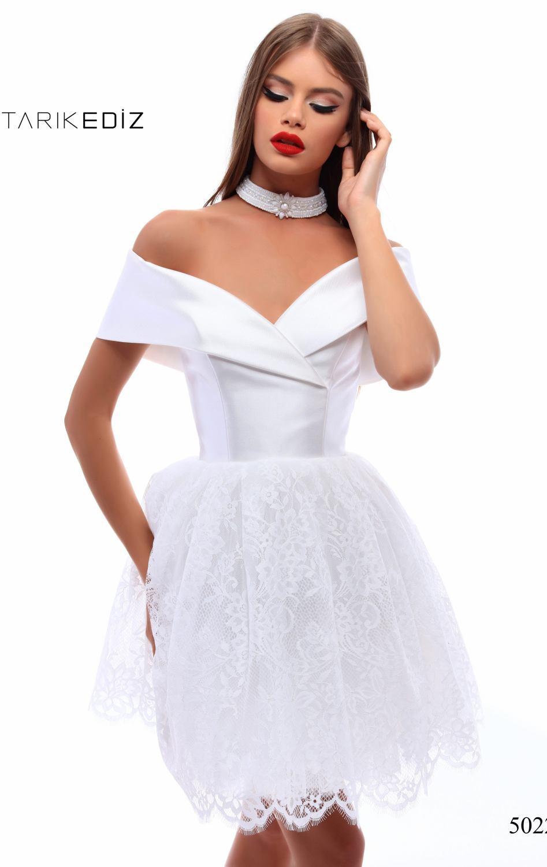 Tarik Ediz 50226 Белое платье с атласным лифом и пышной, кружевной юбкой