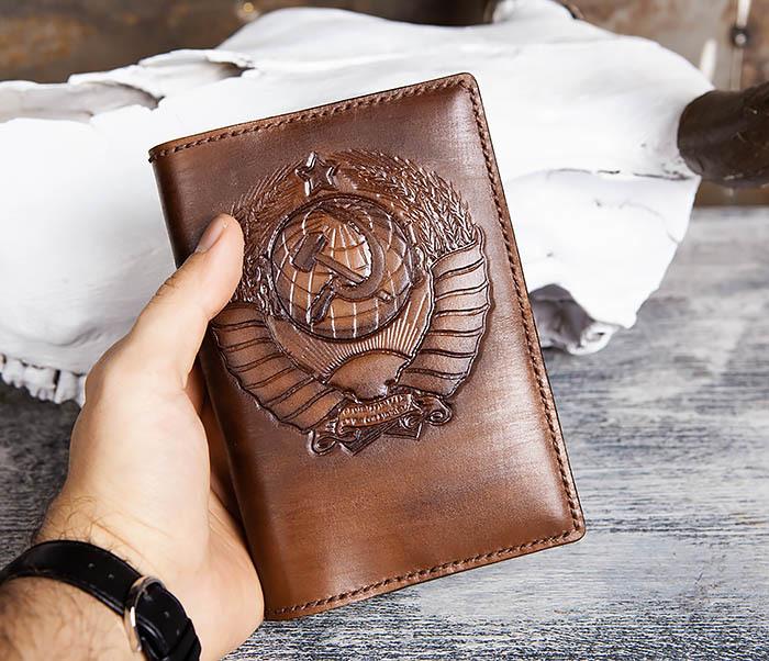 BC199 Кожаный ежедневник ручной работы с гербом СССР (A6) фото 06