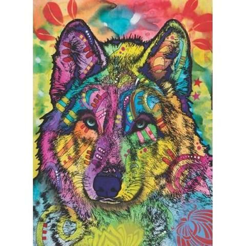 Картина раскраска по номерам 40x50 Разноцветный волк
