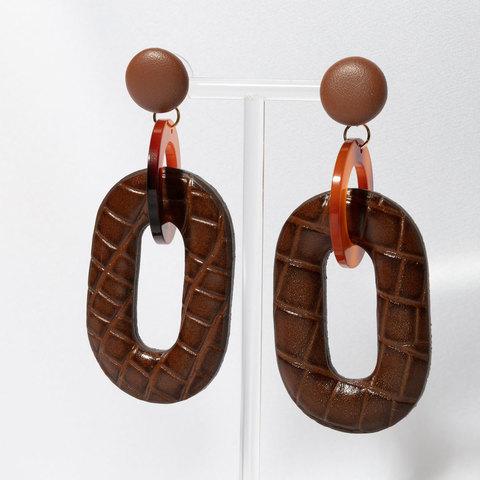 Серьги-подвески со звеном из кожи (коричневый)