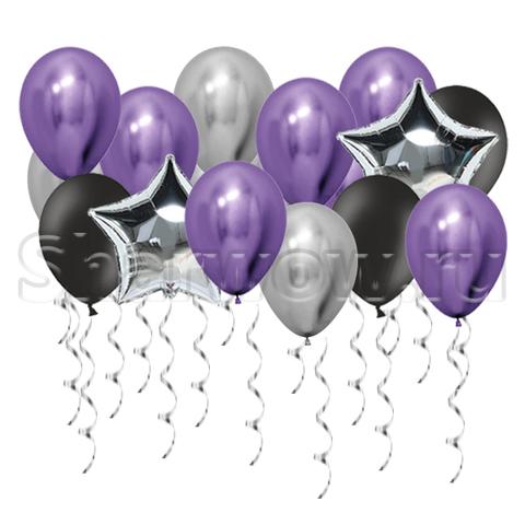 Воздушные шары под потолок Серебро и фиолетовый хром, черный и звезды