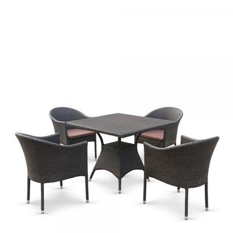Обеденный комплект плетеной мебели T190B/Y350A-W53 Brown (4+1)