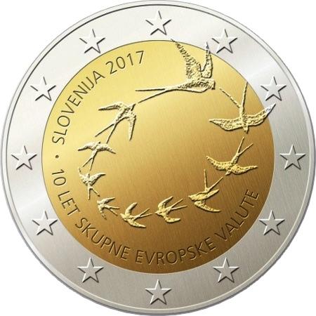 2 евро 2017 Словения - 10-я годовщина евро в Словении